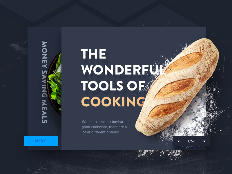 Food Article app website 3d flat clean salad bread flour ui web food article