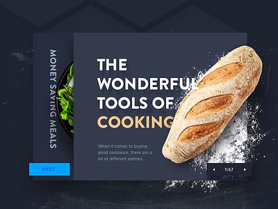 Food Article app website 3d flat clean salad bread flour ui web food article