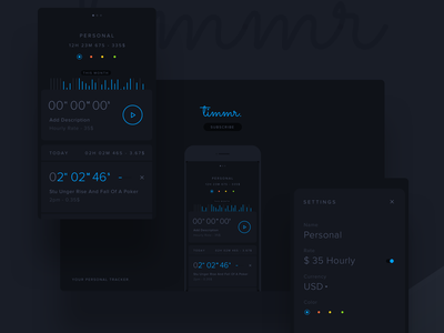 Timmr - Your Personal Tracker free clean flat blue dark animation stopwatch iphone app time tracker