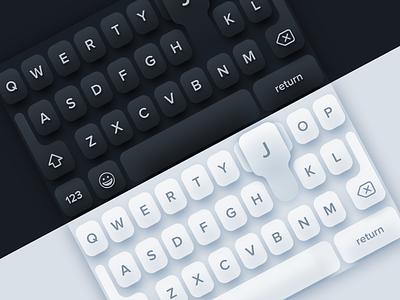 Dark/Light Mobile Keyboards skeuomorph neumorphic ui template dark light keyboard modern clean vector app sketch