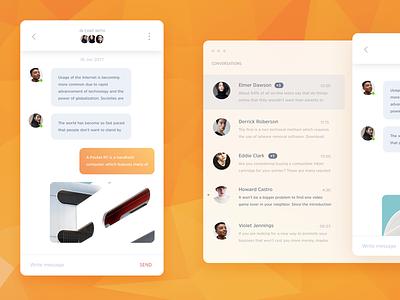 Omee – Messenger UI Kit freebie free user orange modern web kit ui template bot chat messenger