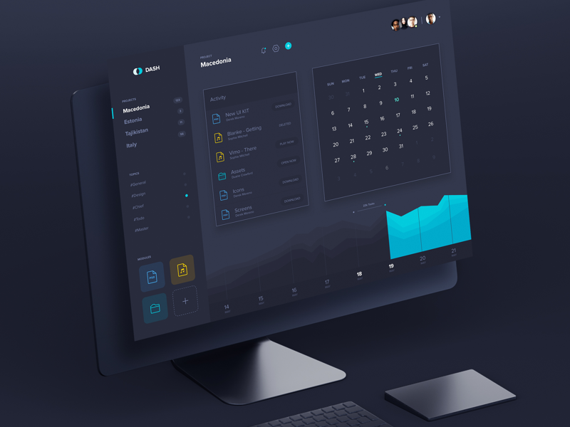 Dash - Dashboard UI Kit freebie dark free graph stats calendar kit download sketch admin ui dashboard