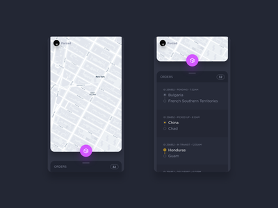 Package Delivery tracking track maps ui dark purple animation gif delivery app