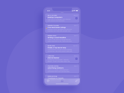 Mail Client App transparent liquid ui dark purple x iphone mobile app client mail