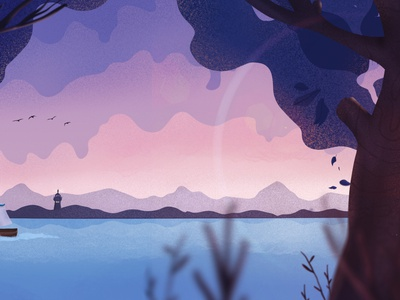 By The Lake nature boat water sky motion landscape leaves tree illustration graphic animation lake