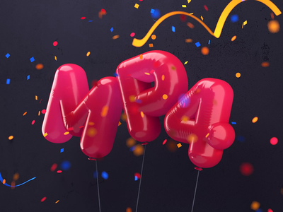 Balloon MP4 typography logo icon c4d balloon party 3d red confetti animation mp4