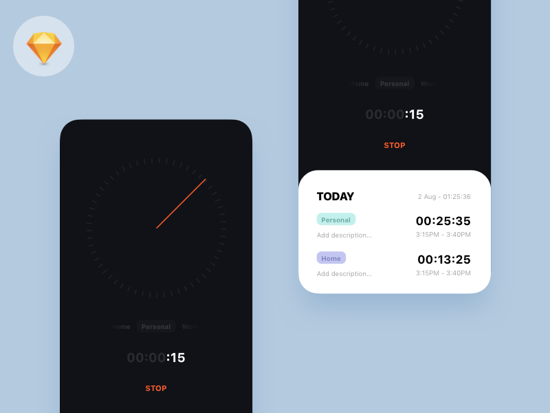 Freebie - Time Tracker App how to design ios flat timer iphone x iphone xs iphone dark download freebie free ui app stopwatch tracker time