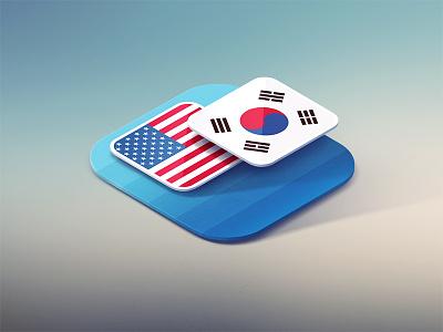 Odyssey Translator Icon flags flat isometry odyssey translator icon ios7 apple iphone perspective