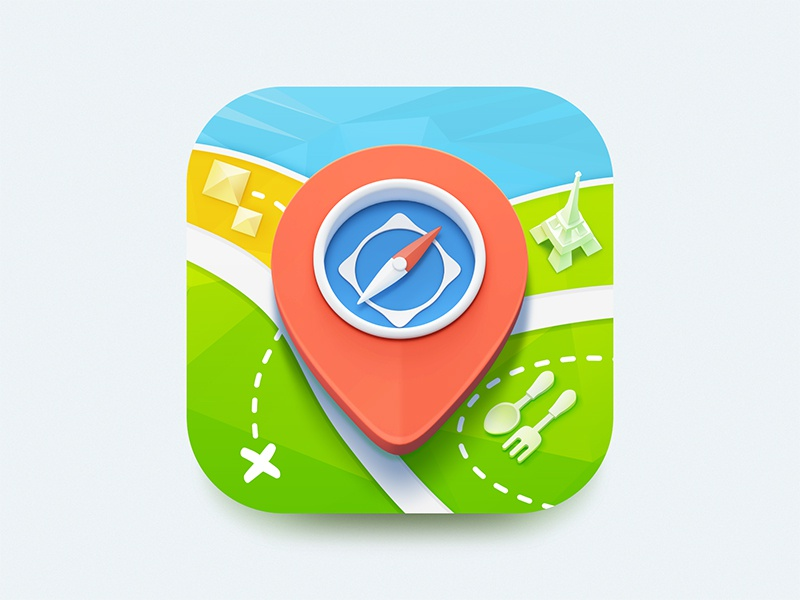 Travel icon concept ios travel icon pin compass flat iphone apple navigation