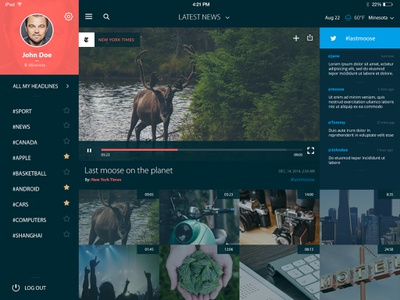 Videonews App apple ipad interface ui app news video
