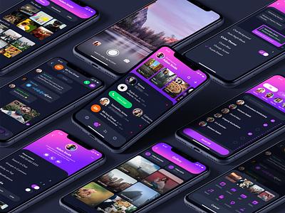 Rainbow Messenger - Purple Dream app icons app ui app design purple dark theme chat messenger application iphone apple uidesign ux design