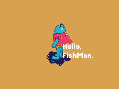 FishMan. man draw hello fisherman fish animal illustration