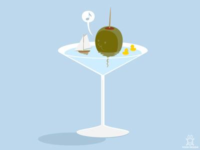 Olive toon design joachim berg rubberduck bath martini drink cocktail olive