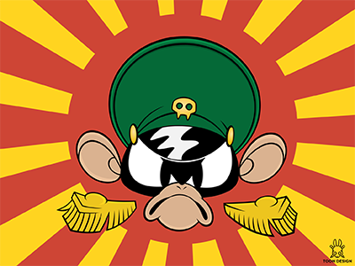 OMA joachim berg toon design rubber hose animation army captan angry monkey oma