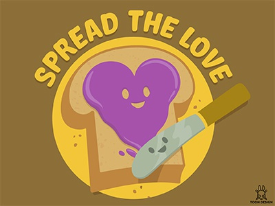 Spread The Love knife toast jam heart love