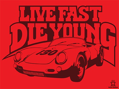 Live Fast Die Young hutch starskt crash vintage race die young porsche spyder car 130