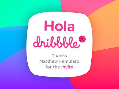 Hola dribbble! invite thanks dribbble hola shapes gradients mexico yshai sutton ysbdesign debut