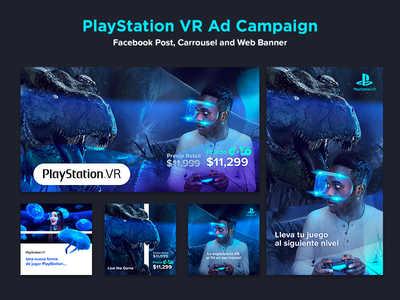 PlayStation VR Facebook Campaign  ad campaign ysbdesign facebook fb carrosuel post banner plastation vr