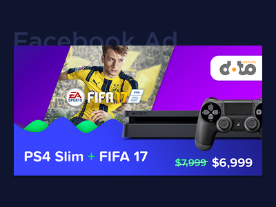 Facebook Ad - PS4 Slim + FIFA 17 ads fb price gradient ysbdesign playstation ps4 fifa post ad facebook