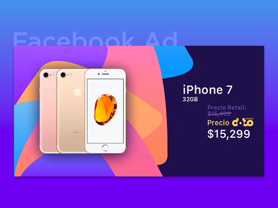 Facebook Ad - iPhone 7 ysbdesign fb shapes background gradient post facebook ad 7 iphone