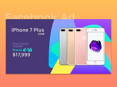 Facebook Ad - iPhone 7 Plus plus iphone 7 ad facebook post gradient background shapes fb ysbdesign