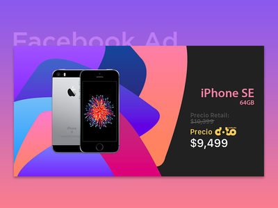 Facebook Ad - iPhone SE ysbdesign fb shapes background gradient post facebook ad se iphone