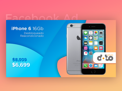 Facebook Ad - iPhone 6 Refurbished  apple ysbdesign fb shapes background gradient post facebook ad refurbished 6 iphone