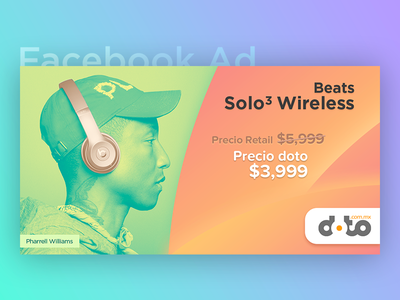 Facebook Ad - Beats Solo 3 Wireless instagram ad instagram post instagram spotify headphones ysbdesign gradient pharell williams wireless solo beats fb ad post facebook
