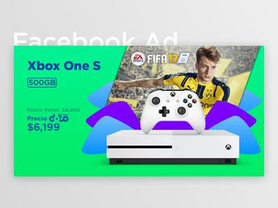 Facebook Ad - Xbox One S + FIFA 17 fb price shapes gradient one s xbox fifa post ad facebook