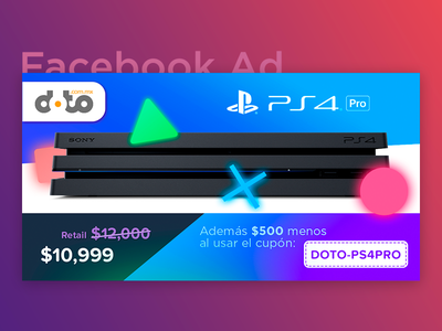 Facebook Ad - PS4 Pro (Single) ysbdesign campaign ad coupon store online fb post facebook playstation ps4