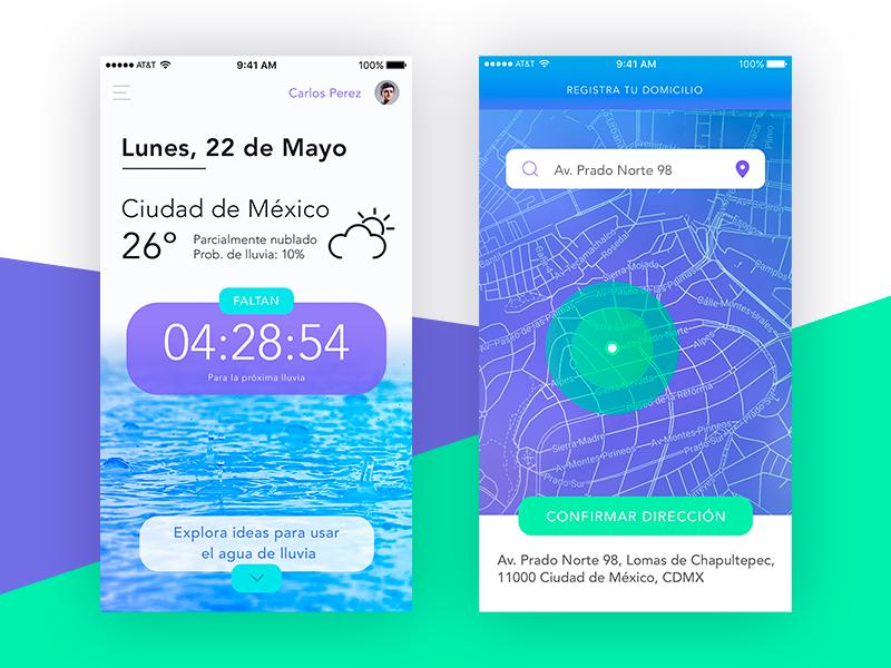 Experimental Weather App UI - Home & Address Registration uber rain screen home clock map address weather interface ios ui app