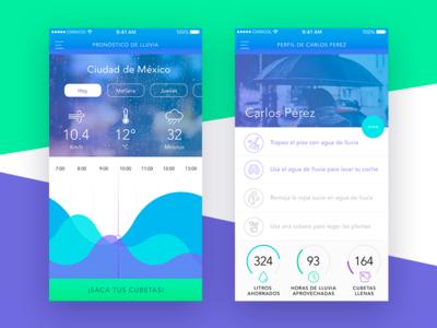 Experimental Weather App UI - Rain Info & Profile