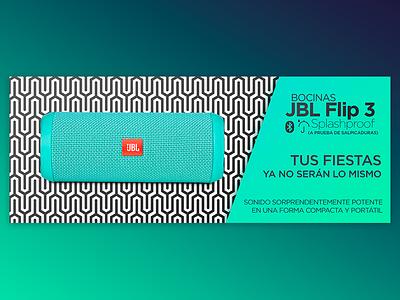 Web Banner for Online Store - JBL Flip 3 Speakers store online gradients flip 3 speakers slider ad web banner jbl