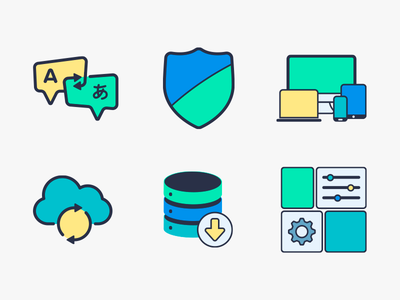 My First Adventure in Icon Design! - Part 2 filled line design settings cloud caching responsive translation shield security icons icon