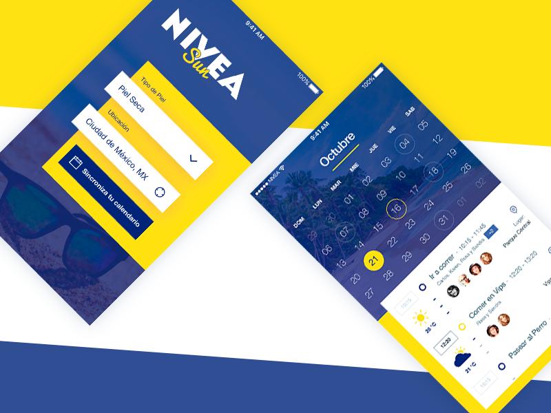 Nivea App - School Project agenda cream weather sign up sun ios calendar skin ui app nivea