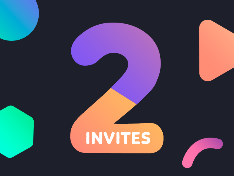 2 Dribbble Invites for 2 Awesome Designers color shapes 2 gradient invitacion debut shot invites invitation invite dribbble