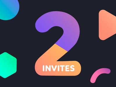 2 Dribbble Invites for 2 Awesome Designers color shapes 2 gradient invitacion debut shot invites invitation invite dribbble