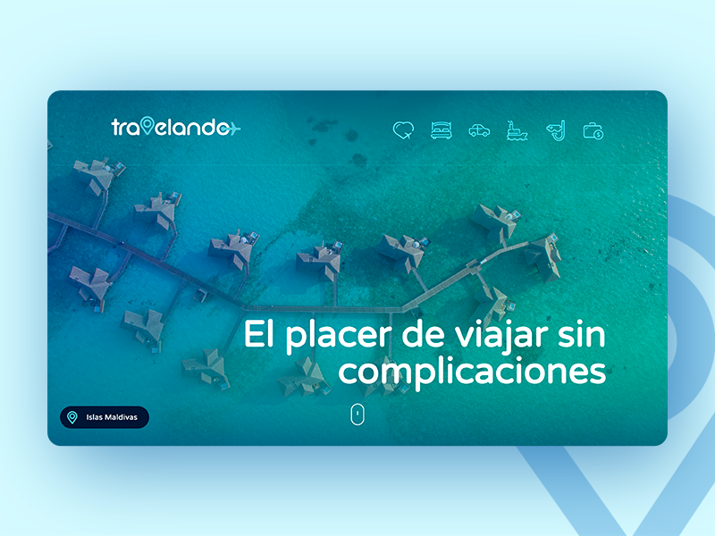 Website for Travel Agency trip branding maldives beach gradient cool icons header website agency travel