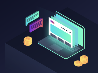 Isometric Illustration for Web Header style messaging beautiful gradient 3d laptop computer coins money forum illustration isometric