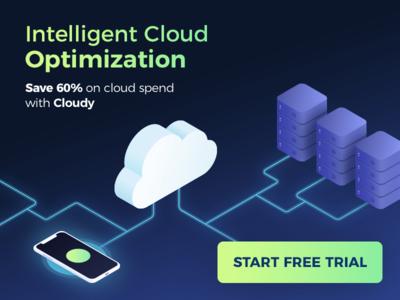 Social Media Ad -  Cloud Service Isometric Illustration