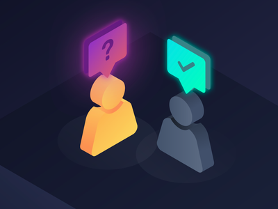 Questions & Answers - Isometric Illustration chat message persona profile style beautiful answers and questions qa 3d isomatric gradient illustration