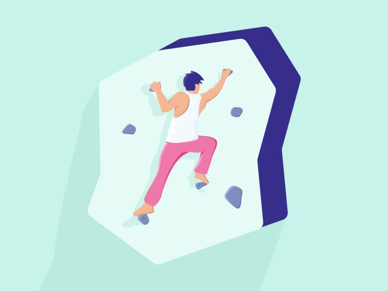 Bouldering Illustration climb flatdesign flat colorful sport person exercise gym boulder bouldering climbing illustration