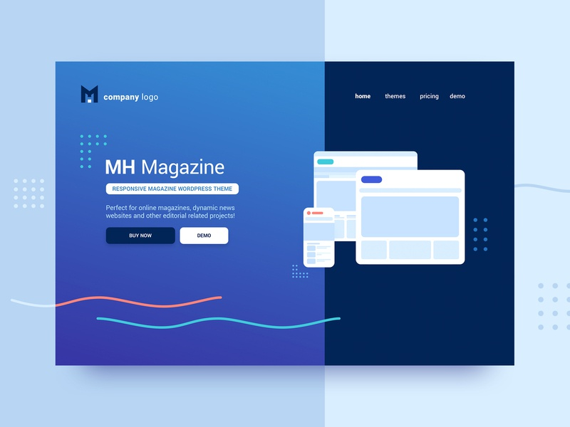 Website Header - Themes Marketplace hero background shapes gradient themes template illustration ui web homepage header head website