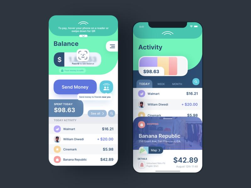 Wallet App Concept fintech app fintech iphone ios cash spendings finance dashboard round corners interface face id money payment bank wallet product design mobile ux ui app
