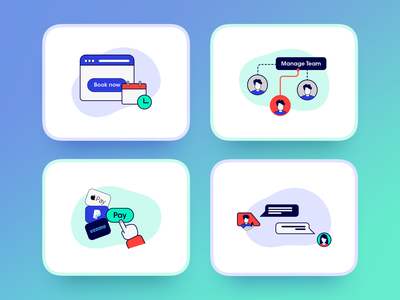 Illustrations for Hey Astro! icons icon chat with client b2c one click payment book now astro facebook ads marketing booking app team management manage team pay chat booking illustrations