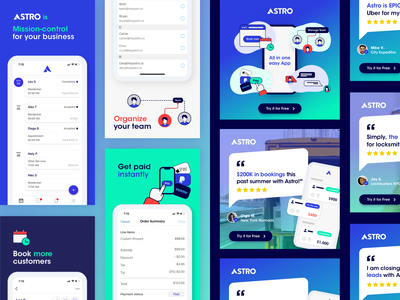 Facebook Posts for Hey Astro! social media marketing icons banner instagram banner quotes testimonials illustration app instagram ads gradient post fb ad facebook