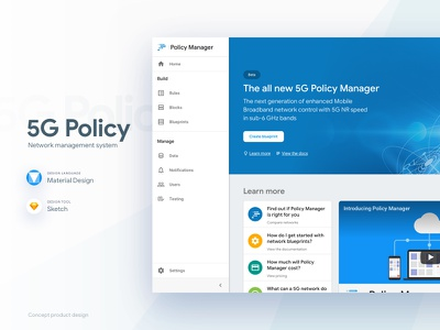 5G Network Policy Manager product webapps ux zeplin design application ui sketch material design