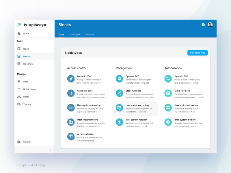 5G Network Policy Manager webapps design zeplin software ui ux sketch material design application
