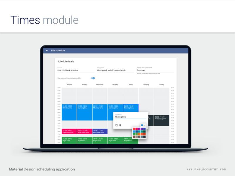 Times Module - Scheduling application using Material Design minimal mock up mac product design web app material design telecoms ui ux schedule sketch application software sketchapp