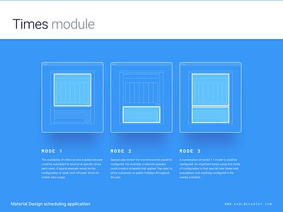 Times module - Configuration modes web app ux ui telecoms software sketchapp sketch schedule product design mock up minimal material design application configuration